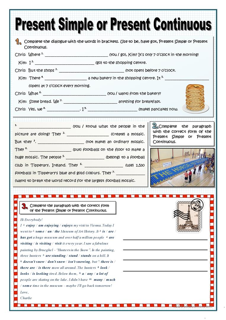 PRESENT SIMPLE OR CONTINUOUS worksheet - Free ESL ...