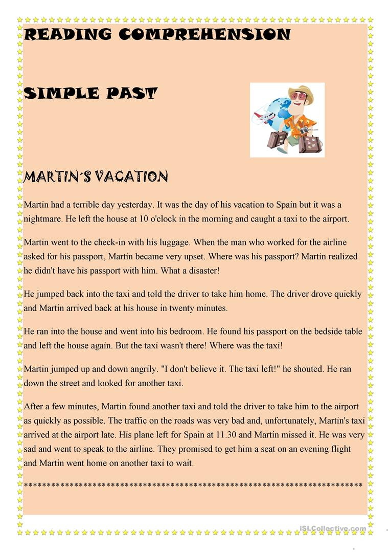 - Simple Past Reading Comprehension - English ESL Worksheets For