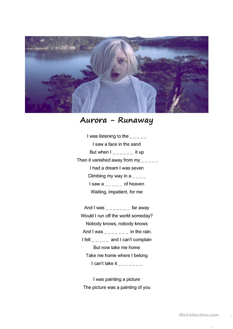 Song Runaway Aurora English Esl Worksheets For Distance