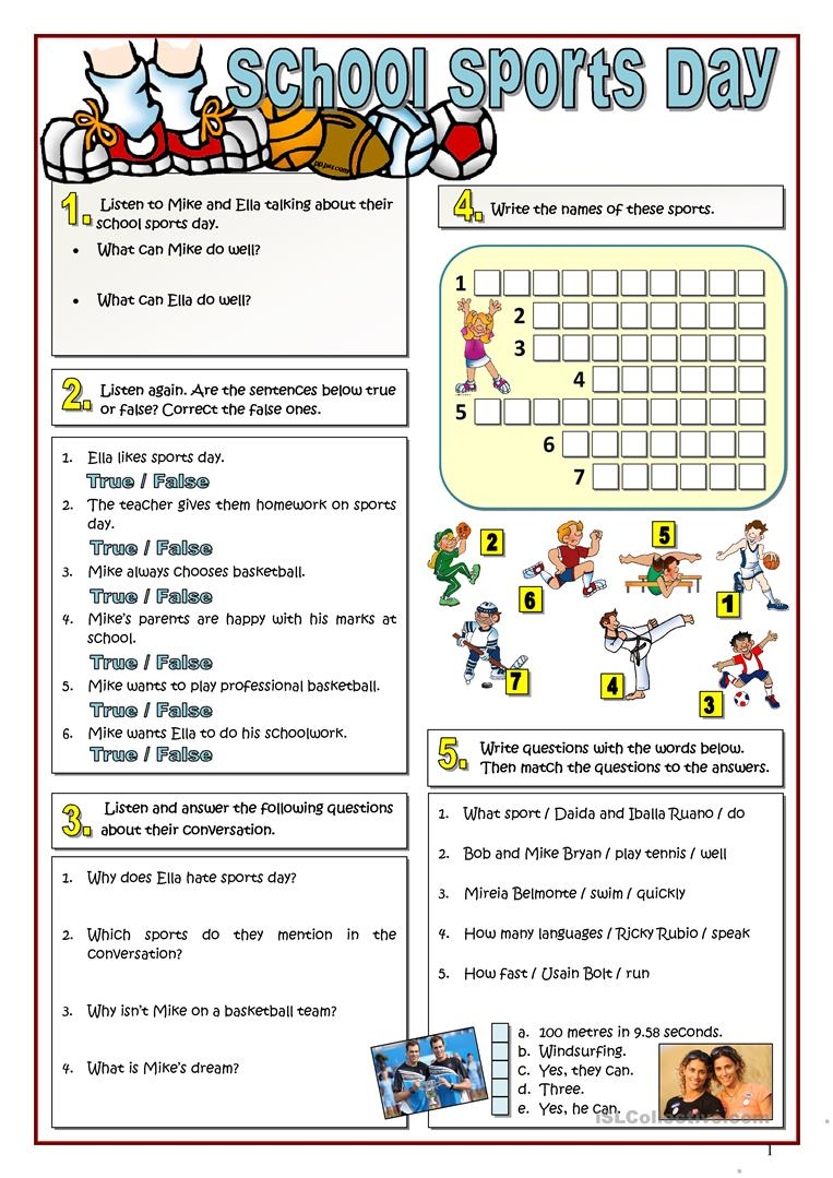sports school day worksheet free esl printable worksheets made by teachers. Black Bedroom Furniture Sets. Home Design Ideas