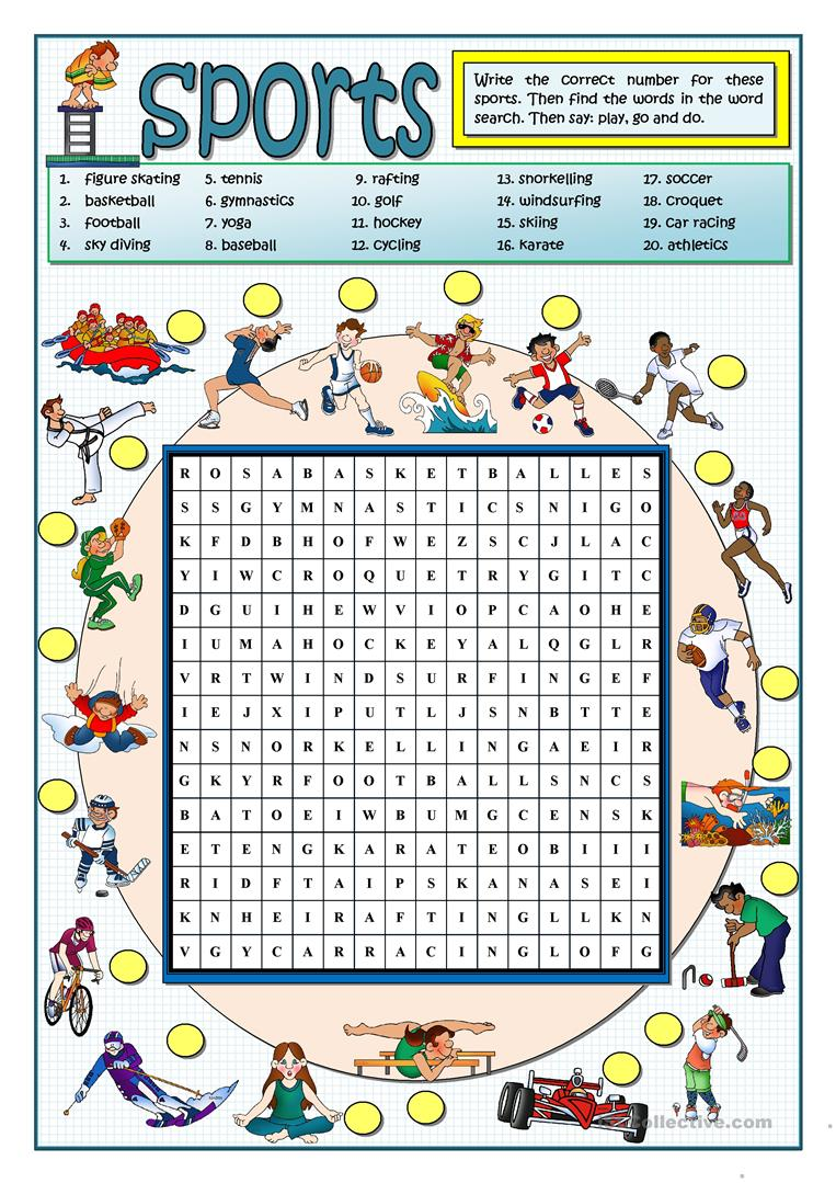 graphic about Sports Word Search Printable identify Sporting activities WORDSEARCH - English ESL Worksheets