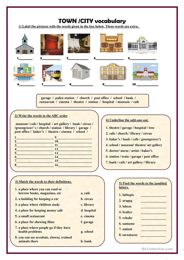 Vocabulary Exercises To Help Learn Words For Places In A Town