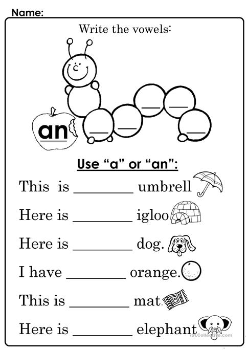 Use Of A And An Worksheet For Kids Mattawa