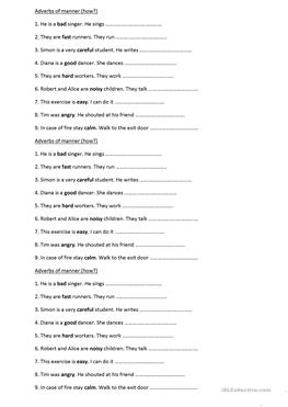 English Esl Adverbs Of Manner Worksheets Most Downloaded 25 Results