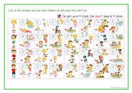 60 free esl telling the time worksheets daily routine free time activities telling time 3d person sing ibookread PDF