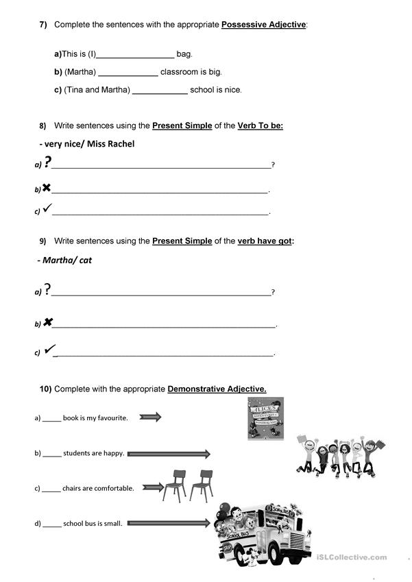 5th form/ 5th grade English Test Classroom Objects/School places/ School subjects