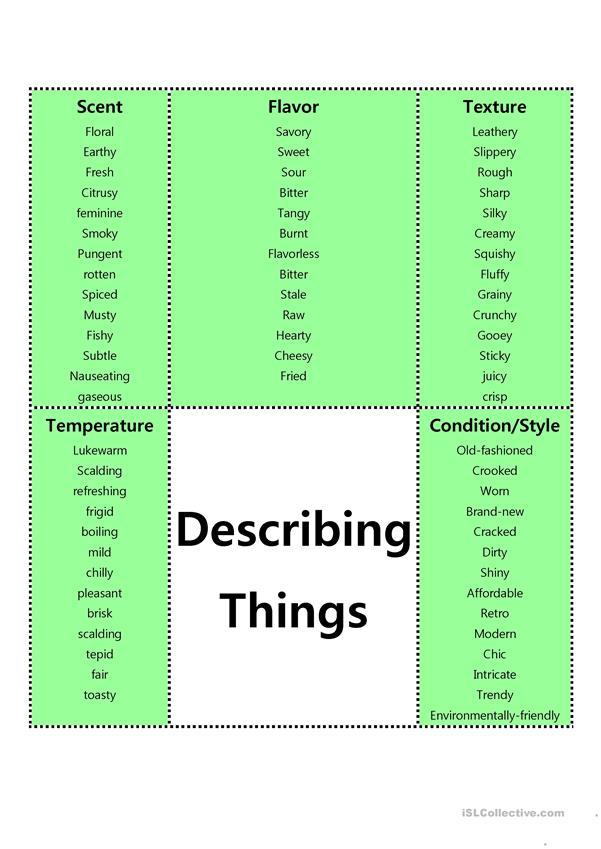 Adjectives Describing Things