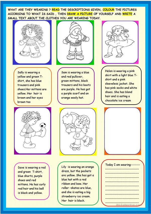 Clothes and accessories: 2 page activity for young learners