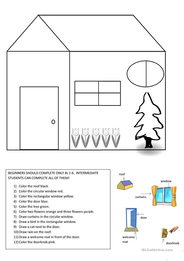 Color code the house-basic vocab/shapes