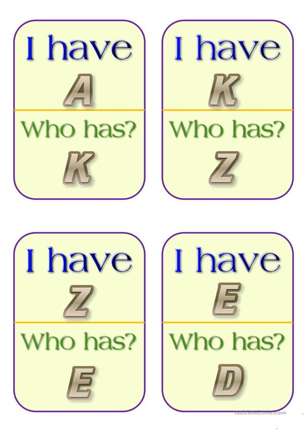 I have, Who has - A to Z Capital letters.