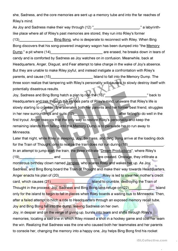 Inside Out Movie Worksheet