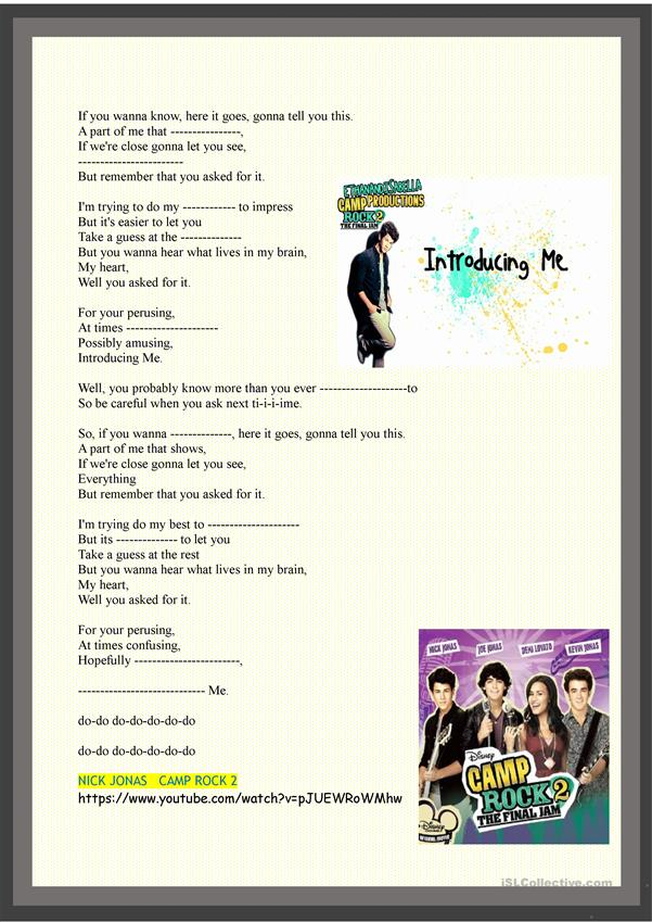 Intoducing me:  complete and sing along the song