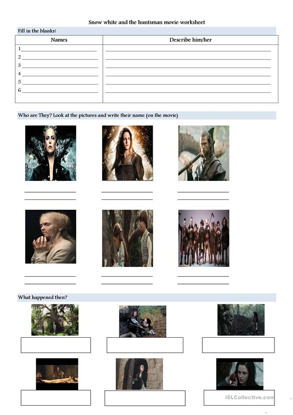 Snow white and the huntsman movie worksheet