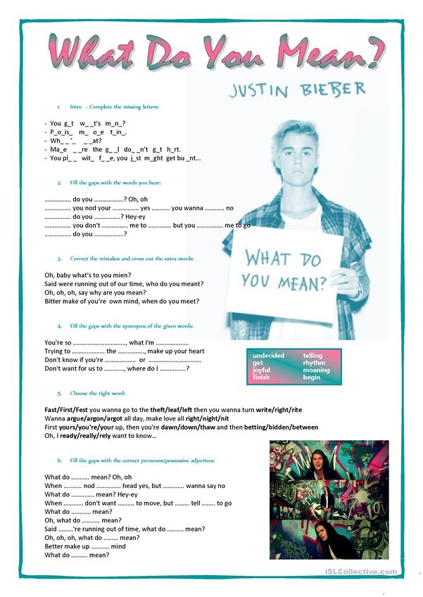 Song: What do you mean - Justin Bieber