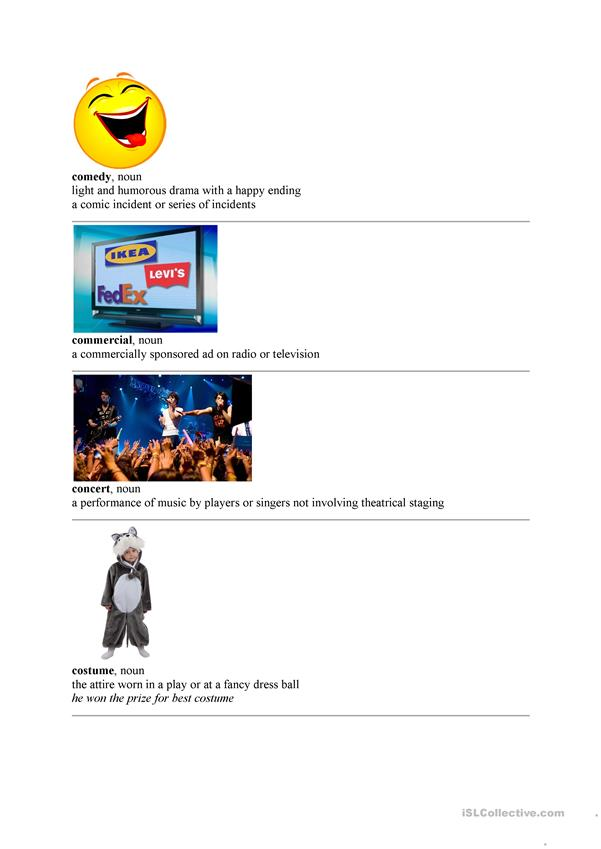 Vocabulary entertainment & media part 1