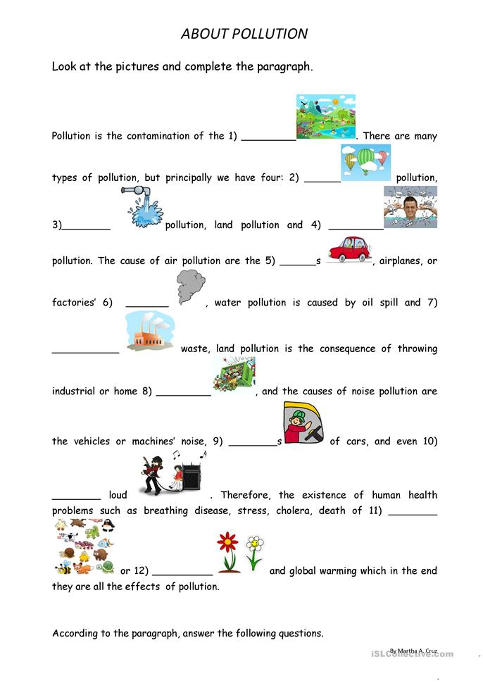 Worksheets Water Pollution Worksheet 50 free esl pollution worksheets about pollution