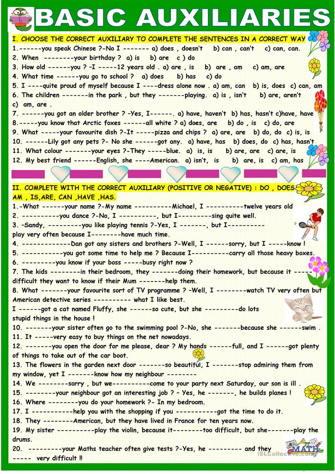 Basic auxiliaries :practice, be can h... - ESL worksheets
