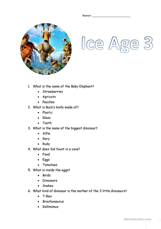 Ages 3 5 Worksheets : Ice age exercises worksheet free esl printable