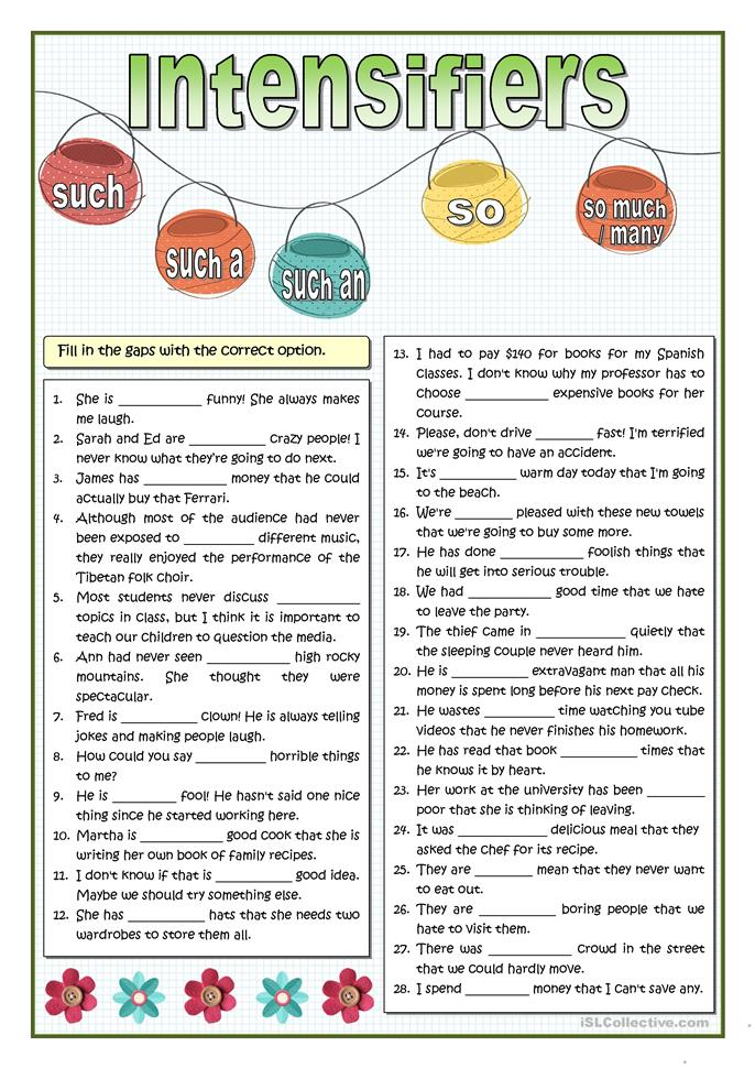 INTENSIFIERS - SO OR SUCH PRACTICE - ESL worksheets