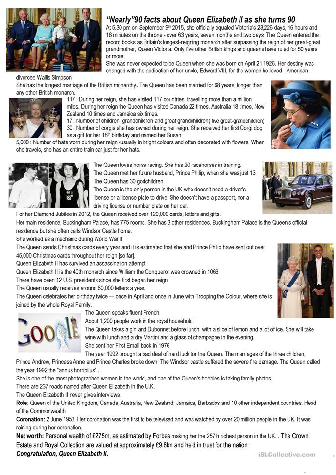 Nearly 90 facts about Queen Elisabeth... - ESL worksheets