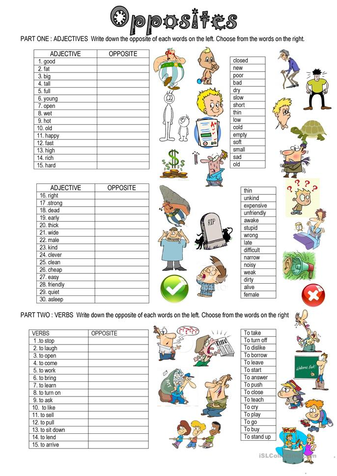OPPOSITES - ESL worksheets