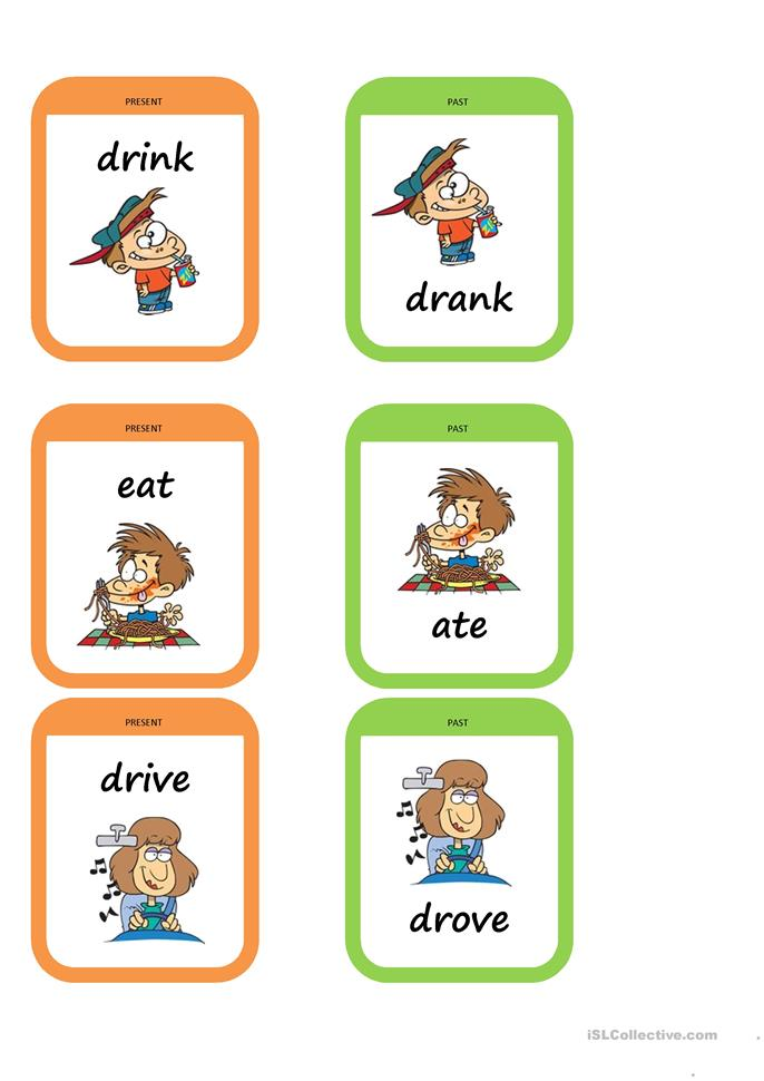 Past tense memory game - ESL worksheets