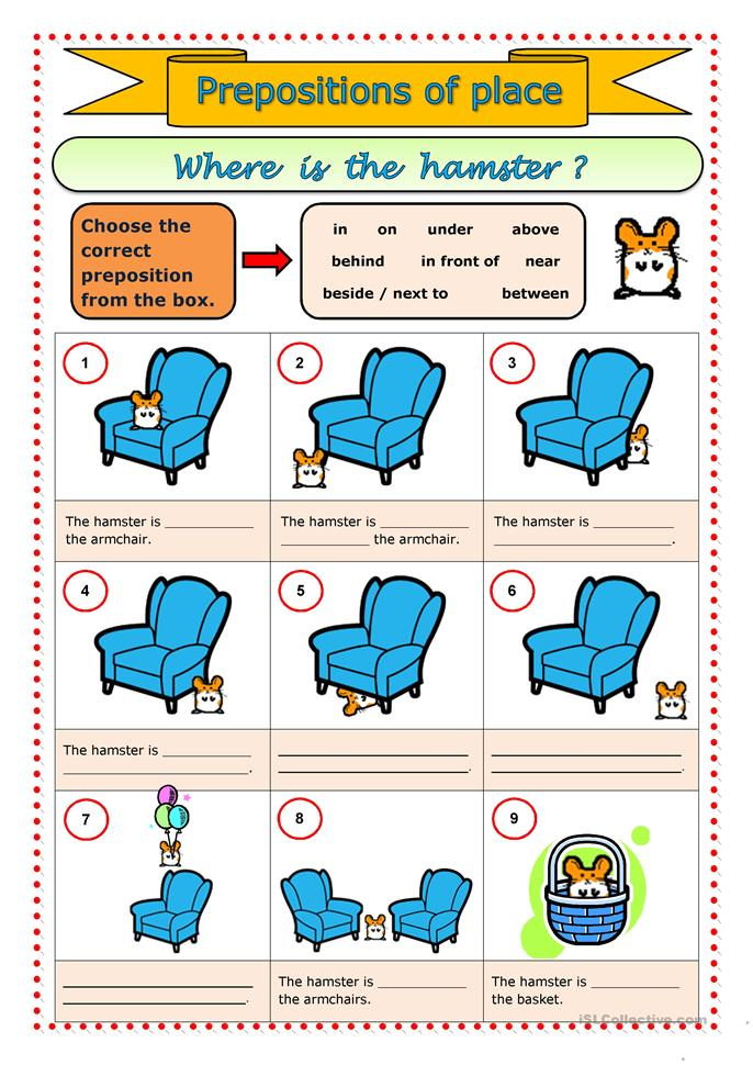 English Worksheets For Teachers : Prepositions of place worksheet free esl printable