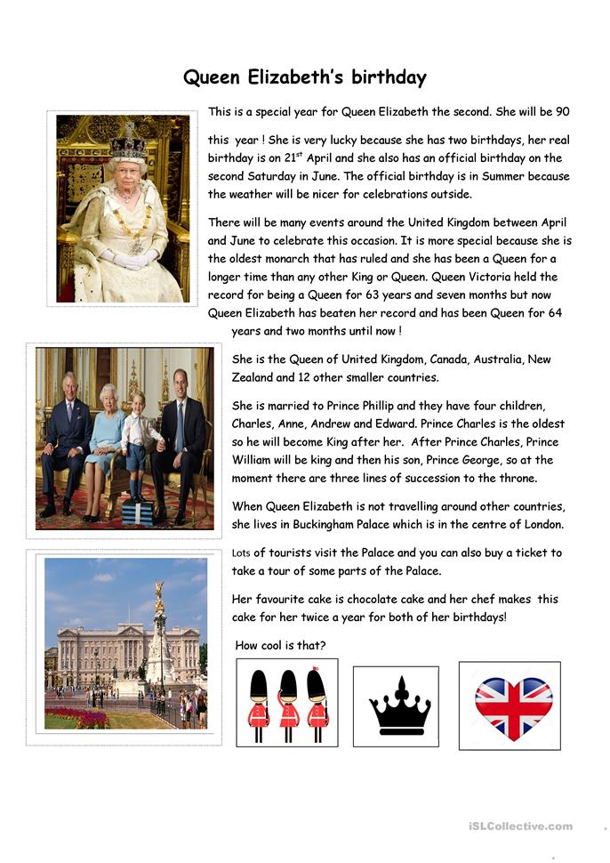 Queen Elizabeth's birthday - ESL worksheets