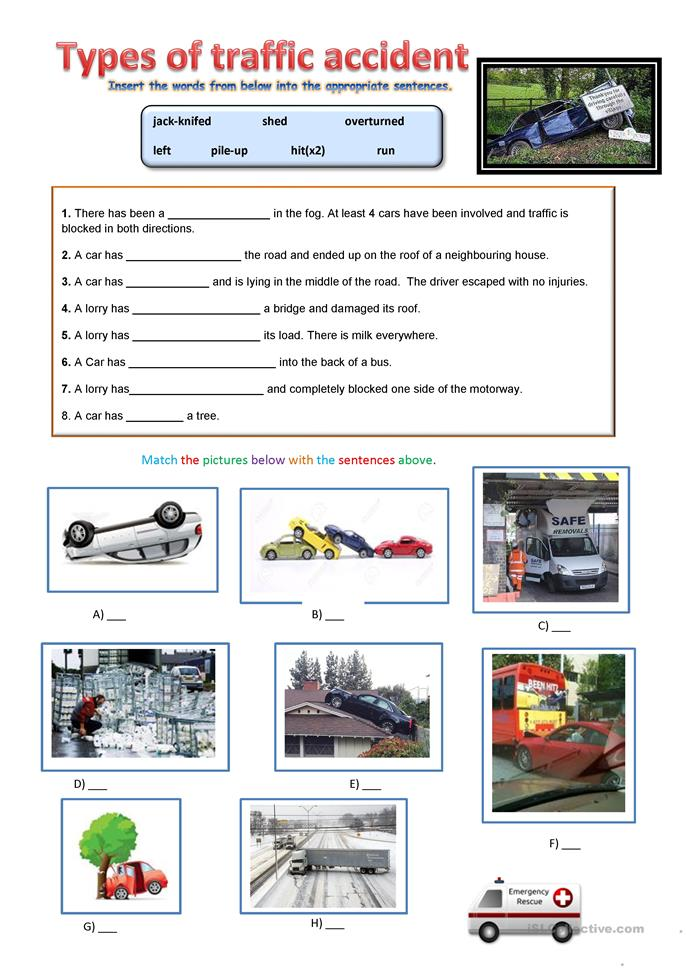 Types of Road Accidents - ESL worksheets