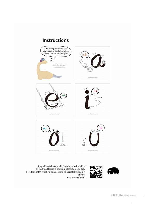 English Vowel Names For Spanish Speaking Kids English Esl Worksheets For Distance Learning And Physical Classrooms