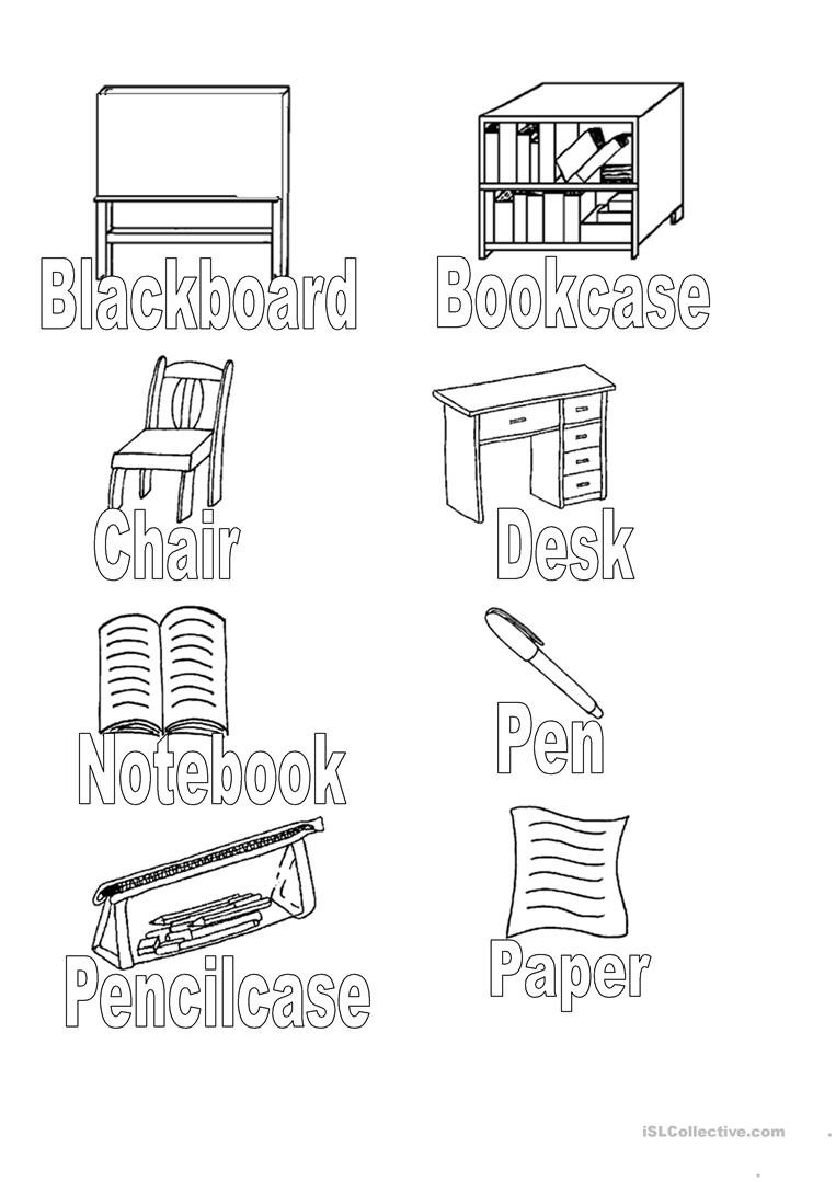 Classroom Objects Colouring Worksheet Free Esl Printable