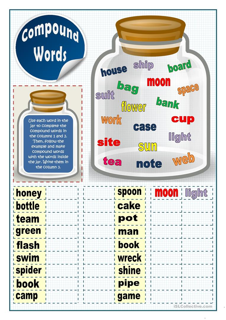 graphic regarding Printable Compound Word Games named Substance Phrases 2 - English ESL Worksheets