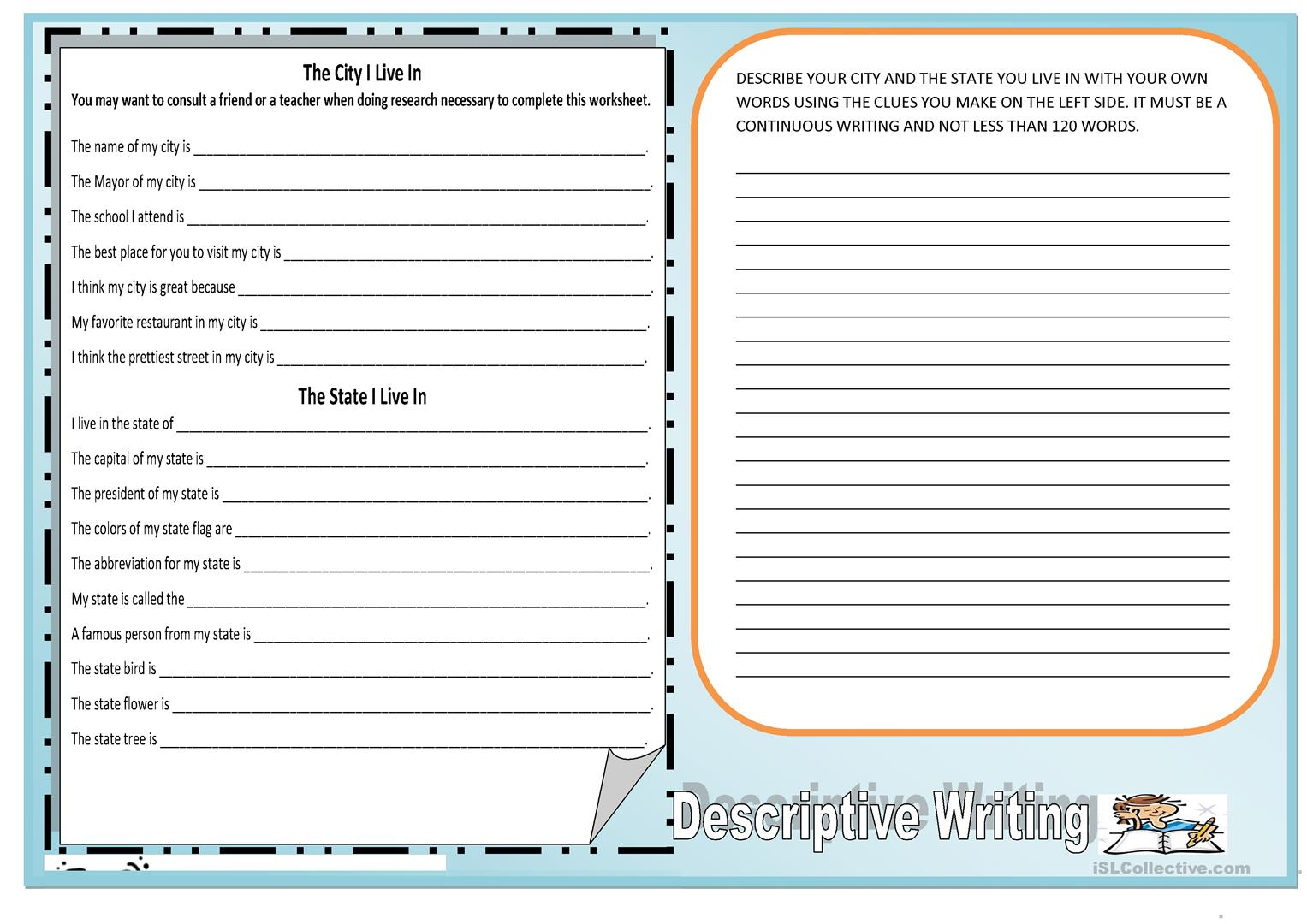 Descriptive Writing City Where I Live In Worksheet Free Esl