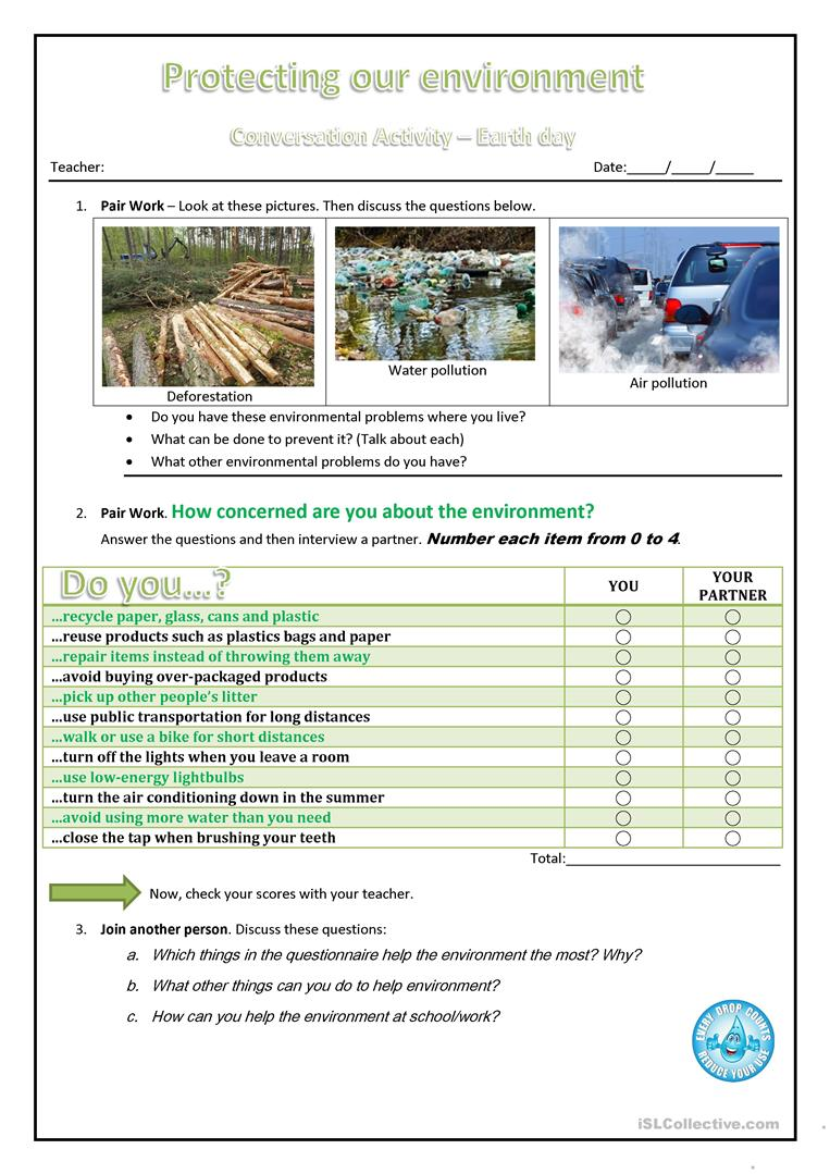 14 free esl earth day worksheets