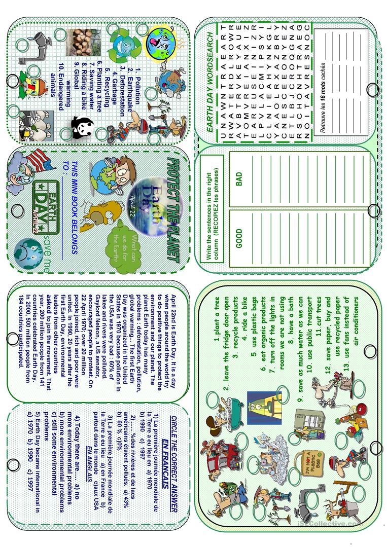 19 FREE ESL earth day worksheets