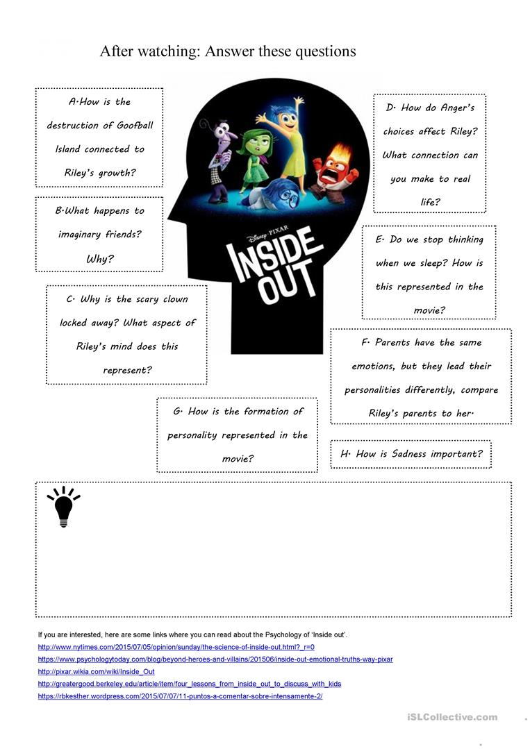 Inside Out Worksheets - The Large and Most Comprehensive ...