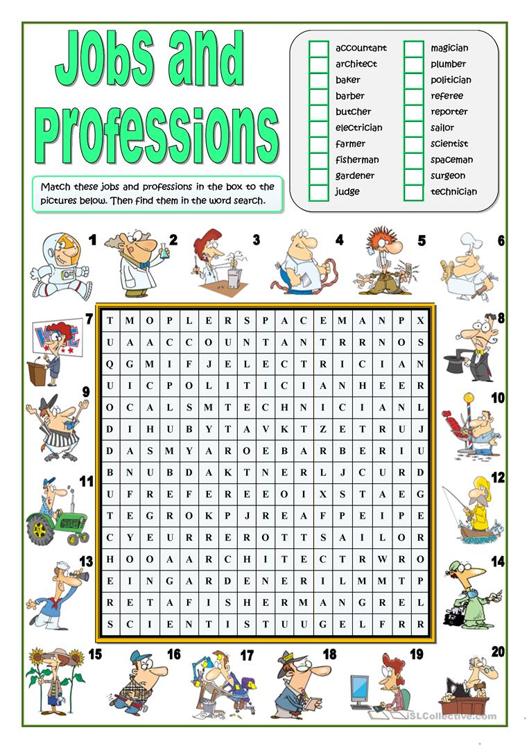 employment search job interview word search and crossword puzzles