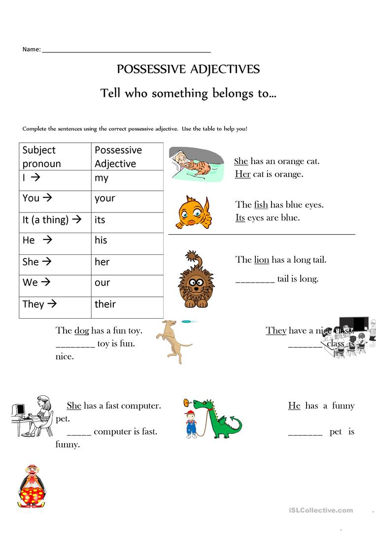 Possessive adjectives made easy--with pictures too ...