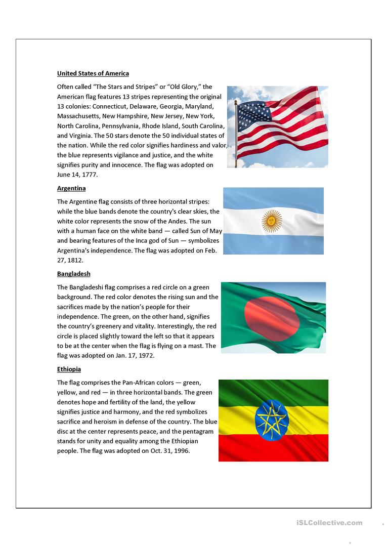 The Meaning Of Flags Worksheet Free Esl Printable Worksheets Made