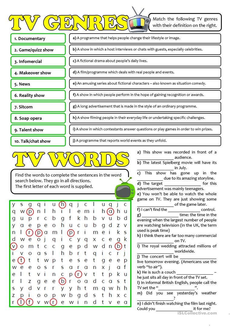 Worksheets Genre Worksheets 28 free esl genre worksheets tv genres and words