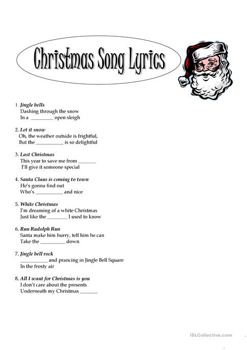 graphic regarding Printable Christmas Song Lyrics known as xmas lyrics worksheet - Totally free ESL printable worksheets