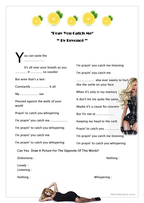 Beyonce Song Worksheet
