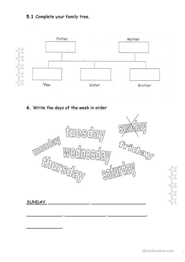 English evaluation Test 4th grade