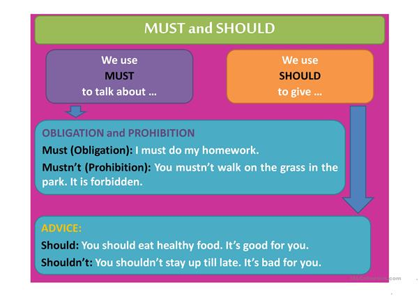 Modal Verbs: must, should, have to