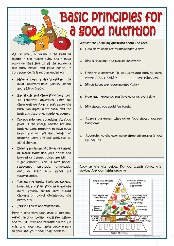Worksheets Nutrition Worksheets 11 free esl nutrition worksheets basic principles for a good nutrition