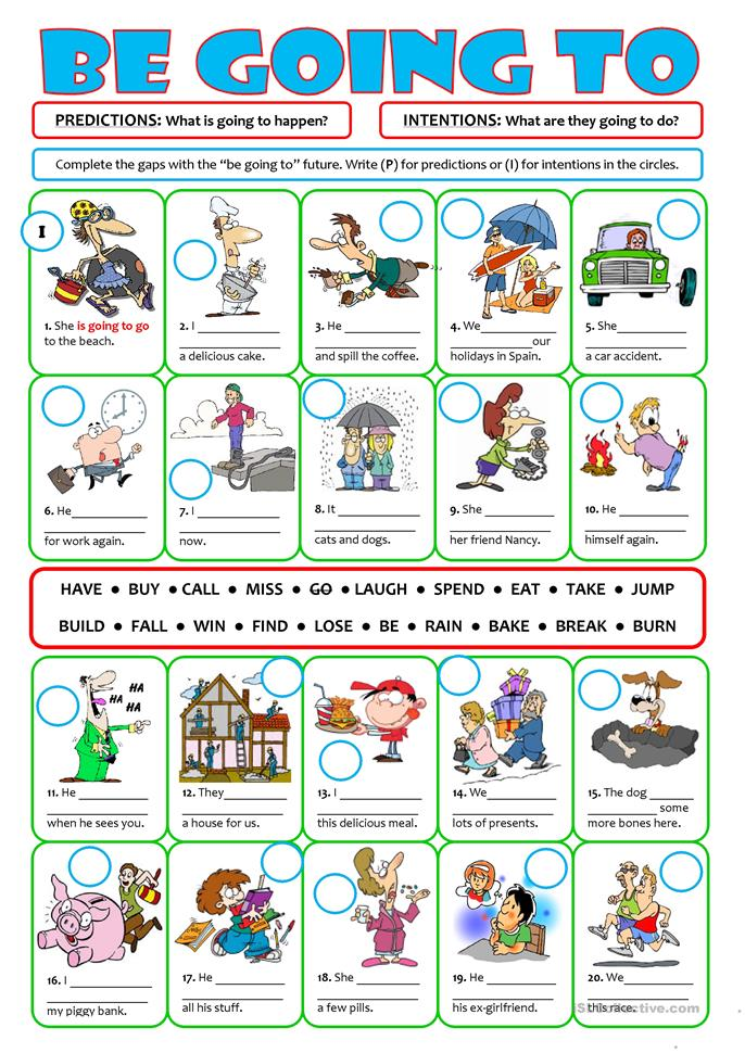 BE GOING TO for future intentions & predictions - ESL worksheets
