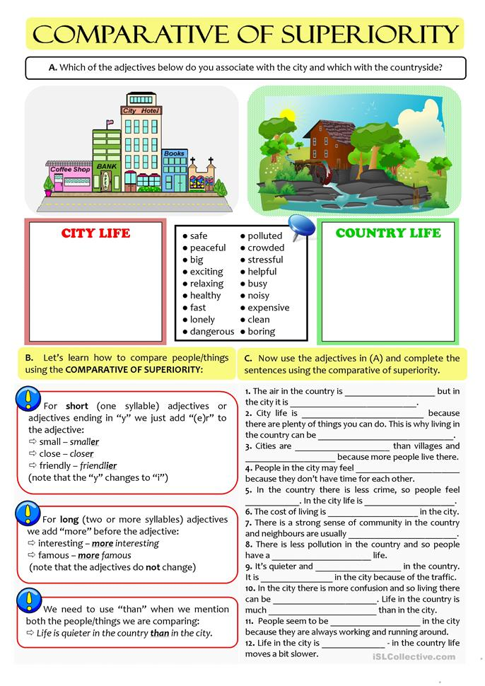 CITY vs COUNTRY LIFE - comparative of... - ESL worksheets
