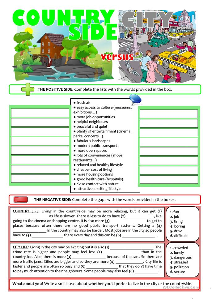 city vs countryside life worksheet free esl printable worksheets made by teachers. Black Bedroom Furniture Sets. Home Design Ideas