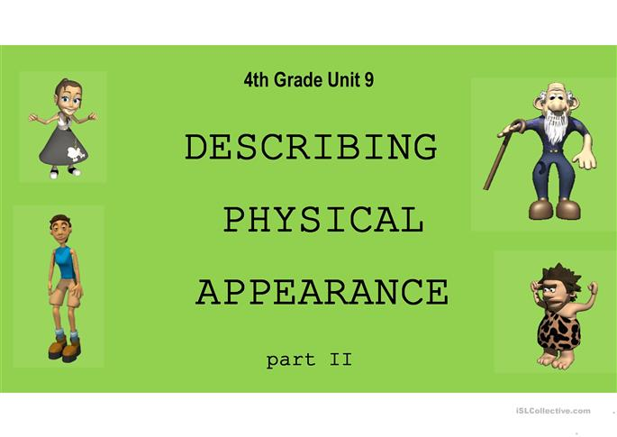 Describing Physical Appearance - Part II - ESL powerpoints