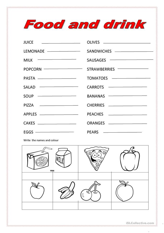 Food And Drink Worksheets For Kindergarten - food and ...